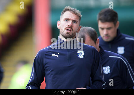 Fir Park, Motherwell, UK. 3rd Nov, 2018. Ladbrokes Premiership football, Motherwell versus Dundee; Martin Woods of Dundee during the warm up Credit: Action Plus Sports/Alamy Live News - Stock Photo