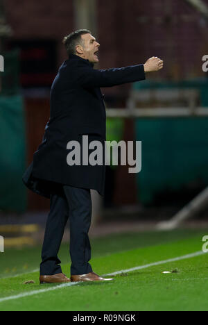 Fir Park, Motherwell, UK. 3rd Nov, 2018. Ladbrokes Premiership football, Motherwell versus Dundee; Dundee manager Jim McIntyre Credit: Action Plus Sports/Alamy Live News - Stock Photo