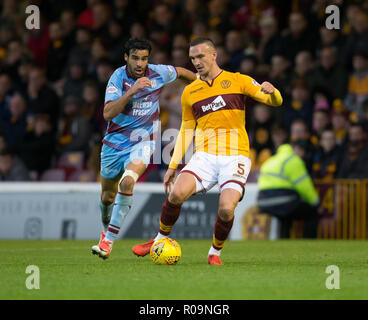 Fir Park, Motherwell, UK. 3rd Nov, 2018. Ladbrokes Premiership football, Motherwell versus Dundee; Tom Aldred of Motherwell and Sofien Moussa of Dundee Credit: Action Plus Sports/Alamy Live News - Stock Photo