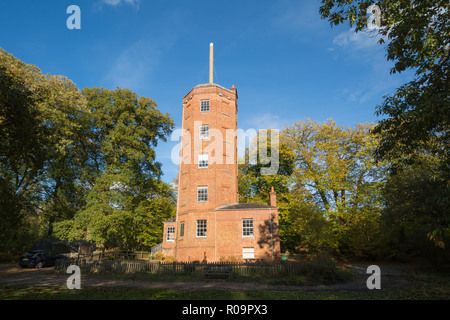 Chatley Heath Semaphore Tower, a landmark that was built as part of the Admiralty semaphore chain which operated between 1822 and 1847, Surrey, UK - Stock Photo