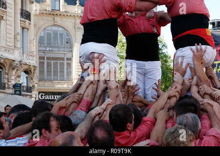 Castellers dels Xiquets de Valls, Total Festum Festival in Montpellier, Occitanie France - Stock Photo