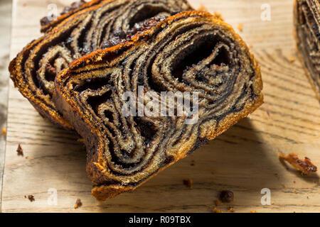 Sweet Homemade Chocolate Babka Bread Ready to Eat - Stock Photo