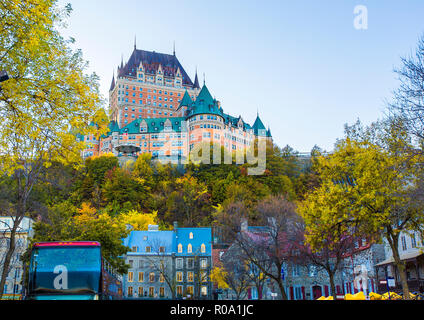 The Frontenac Castle in Old Quebec City in the beautiful autumn season - Stock Photo