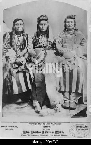 Three Native American Men, Eagle of Light, Joseph & Smohollah, Seated Portrait, The Idaho Indian War, by Charles W. Phillips, Walla Walla, Washington, USA, 1877 - Stock Photo