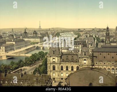 Panorama of the Seven Bridges, Paris, France, Photochrome Print, Detroit Publishing Company, 1900 - Stock Photo