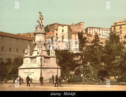 Columbus Monument, Genoa, Italy, Photochrome Print, Detroit Publishing Company, 1900 - Stock Photo