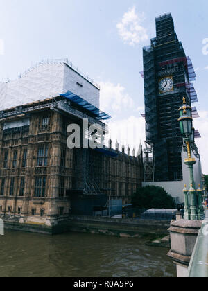 Big Ben is the nickname for the Great Bell of the clock at the north end of the Palace of Westminster in London. Under restauration - Stock Photo