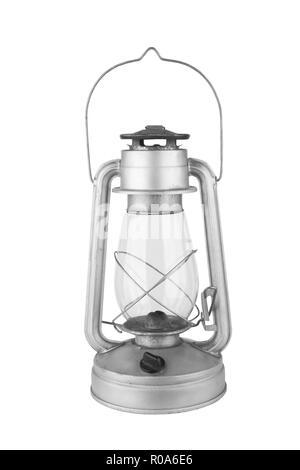 old kerosene lamp isolated on a white background - Stock Photo