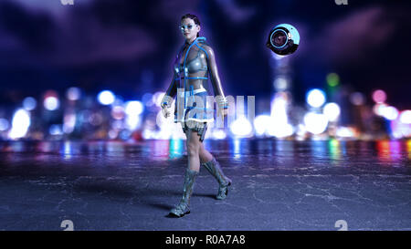 Sci-fi girl with flying drone wearing hi-tech outfit in futuristic city street at night, science fiction scene, 3D rendering - Stock Photo