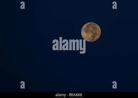 Orange full moon against dark sky, background - Stock Photo