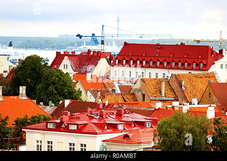 Old buildings with bright roofs in Tallinn, Estonia - Stock Photo