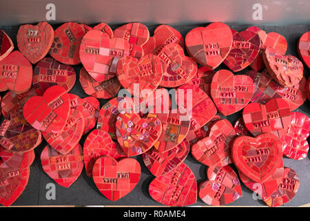 Some of the 27,000 ceramic hearts on display at the Rabin Center to commemorate Israelis killed in wars and terrorist attacks. In Tel Aviv, Israel - Stock Photo