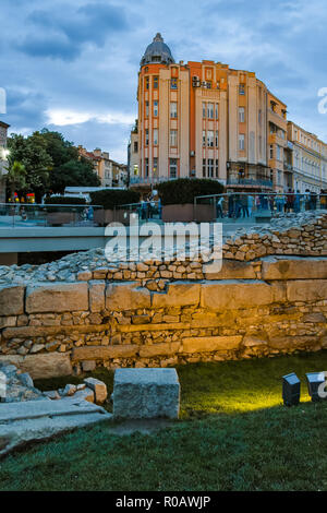 PLOVDIV, BULGARIA - JUNE 9, 2017:  Night photo of Walking street and Ancient Roman ruins in city of Plovdiv, Bulgaria - Stock Photo