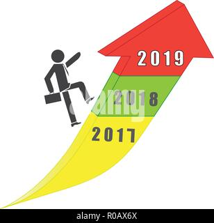 businessman walking on trendy up arrow success of year 2019 stock photo