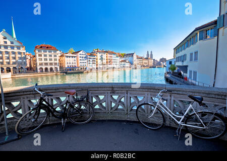 Zurich waterfront landmarks autumn colorful view, largest city in Switzerland - Stock Photo