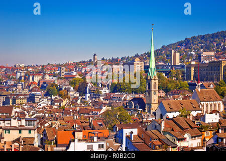 Zurich rooftops and cityscape view, central Switzerland - Stock Photo