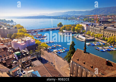 Zurich lake and river waterfront aerial view, largest city in Switzerland - Stock Photo