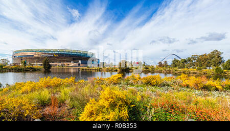Chevron Parkland and Stadium Park with a lake and native plants next to Optus Perth Stadium in Burswood. - Stock Photo