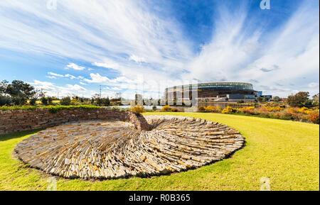 'The Wandering' sculpture by Chris Drury in Stadium Park beside optus Stadium. Burswood, Perth, Western Australia - Stock Photo