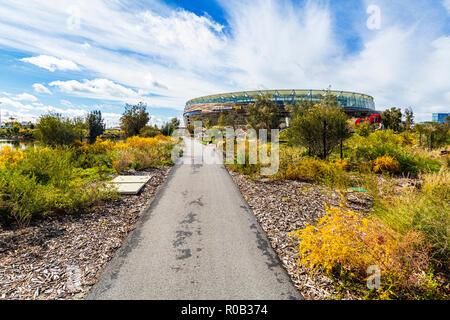 A path leading through Chevron Parkland towards Optus Stadium.