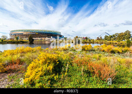 Chevron Parkland and Stadium Park with a lake and native plants next to Optus Stadium in Burswood.