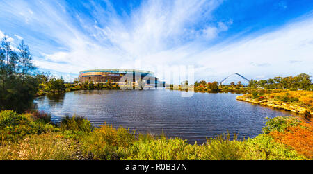 Chevron Parkland and Stadium Park with a lake and native plants next to Optus Stadium in Burswood