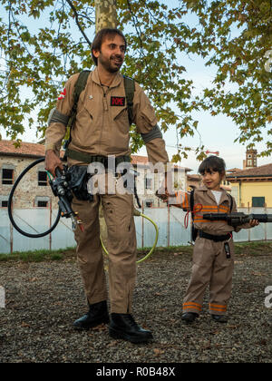 Particiants at the 'Lucca comics & games', an annual comic book and gaming convention in the walled city of Lucca, Tuscany, Italy - Stock Photo