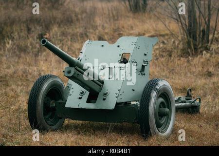 Soviet anti-tank gun 53-K in the autumn field - Stock Photo