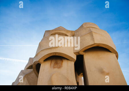 Chimney sculptures on the rooftop of Casa Mila in Barcelona, Spain, Europe