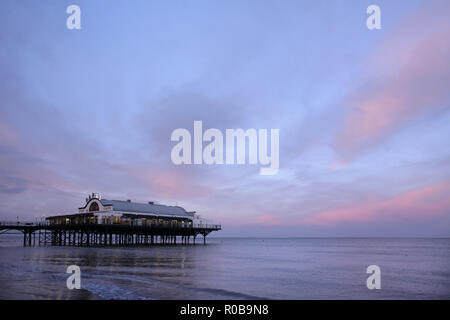 Cleethorpes pier, Lincolnshire, UK at dusk. - Stock Photo