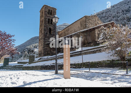 Snow in Sant Joan de Caselles Church in Canillo. Andorra la Vella, Andorra. - Stock Photo