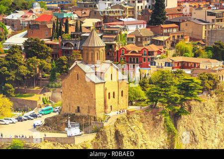 Tbilisi, Georgia panoramic skyline with Metekhi church - Stock Photo
