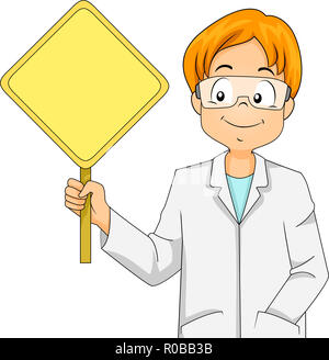 cartoon male scientist with white lab coat and safety goggles stock