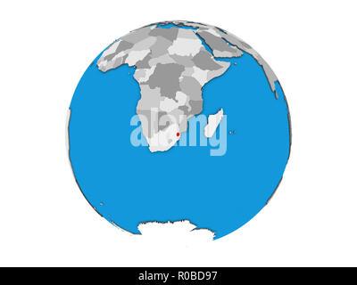 eSwatini on blue political 3D globe. 3D illustration isolated on white background. - Stock Photo