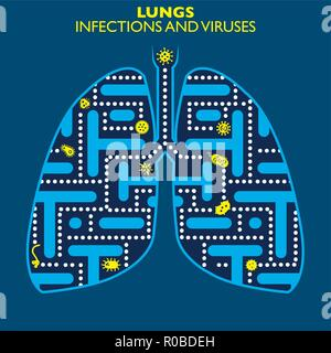 Lungs infections and viruses, presence of infectious and virus forms - Stock Photo