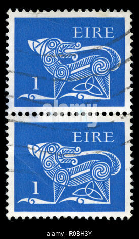 Postmarked stamps from Ireland in the  Early Irish Art 1971-75 series - Stock Photo