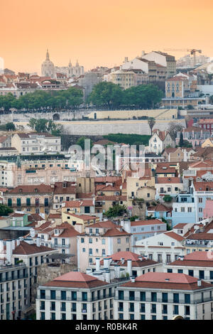 View of the skyline and city centre streets in Lisbon, Portugal - Stock Photo