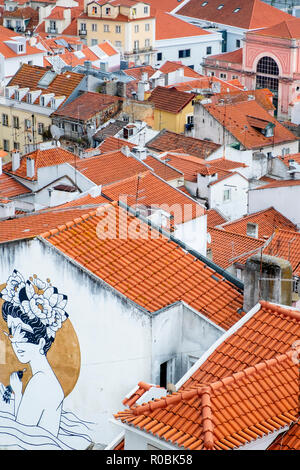 View of the skyline and city centre streets in Lisbon, Portugal