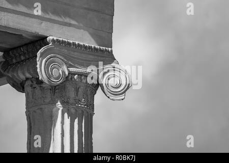 Athens, Greece - October 28 2018: Ionic order decoration on top of pillar, Erechtheion Acropolis hill - Stock Photo