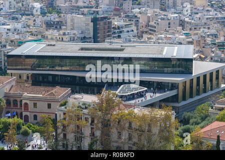 Acropolis museum view from Acropolis hill, Athens, Greece - Stock Photo