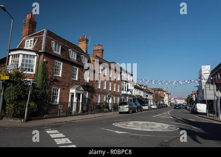 High street at Marlow in Buckinghamshire, Britain - Stock Photo