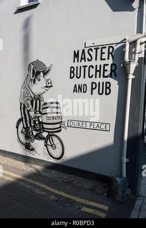 A cartoon on the wall of The Butcvher's Tap, The Butcher's Tap, Marlow, England, Buckinghamshire, Bucks, UK, GB, United Kingdom, Britain, Great Britai - Stock Photo
