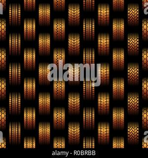 Orange seamless background with different tire track silhouettes - Stock Photo