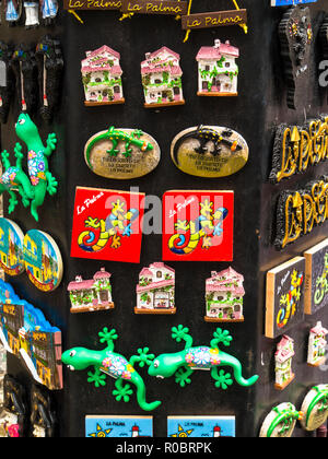 Souvenir fridge magnets, Santa Cruz de La Palma,Canary Islands,Spain - Stock Photo