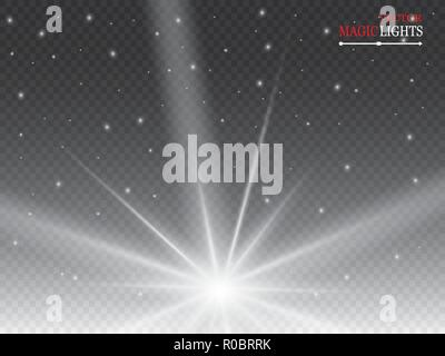 Glow light effect. Starburst with sparkles on transparent background. Vector illustration. - Stock Photo