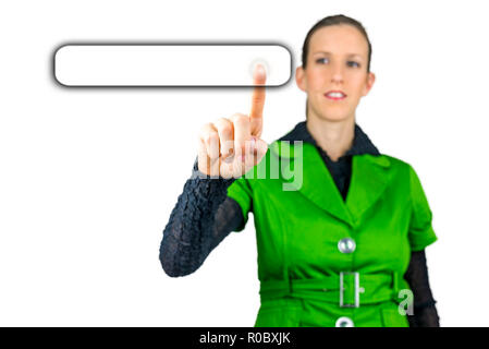 Young woman pressing an empty button on virtual screen. Empty space ready for your text. - Stock Photo