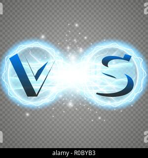 Hot and cold sparkling strength. Energy lightning with an electrical discharge isolated on a transparent background. Collision of two forces with red and blue light. Vector illustration. V S - Stock Photo