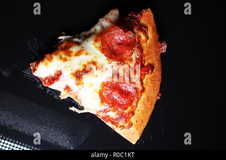 Pizza sausage american salami cheese slice slices pizza delivery - Stock Photo