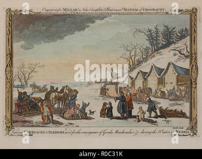 Various, Carriages and Sledges used for the Conveyance of Goods, Merchandise during the Winter in Russia, Published for Millar's New Complete Universal System of Geography, Copper Engraving, 1784 - Stock Photo