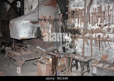 Blacksmith Forge Within The National Slate Museum, Dinorwic Quarry, Llanberis, Wales, UK - Stock Photo